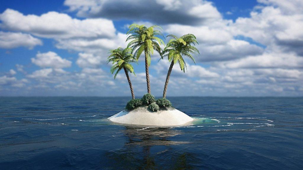 Пальмы посреди водоема под бело голубым облачным небом природа обои скачать