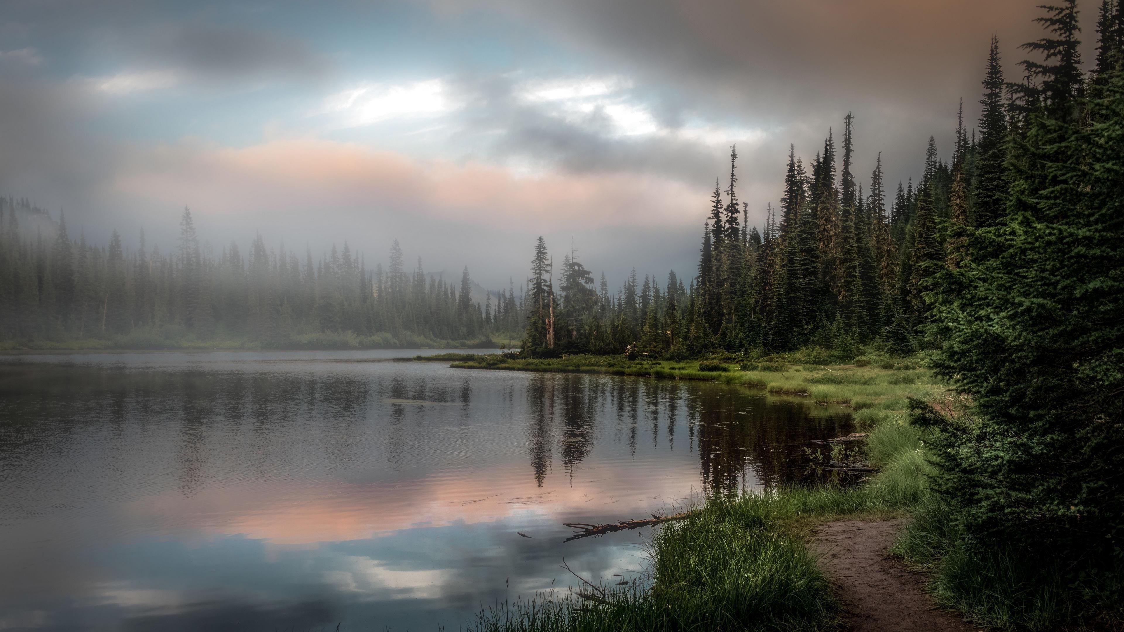 Земля озеро деревья снег обои скачать