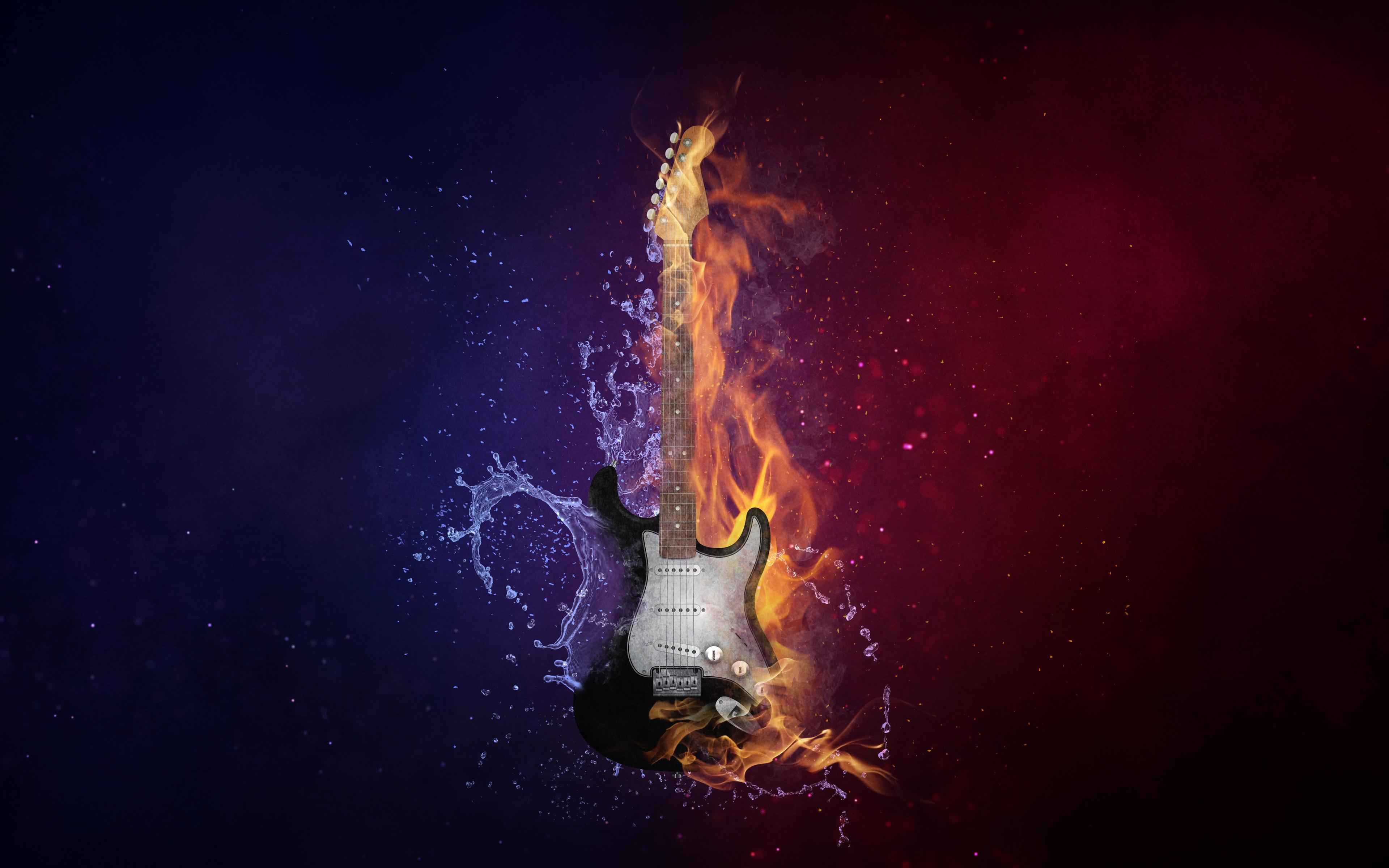 Гитара огонь & amp; холодный обои скачать