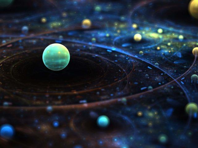 Вселенная разноцветная планета космическое искусство 4k hd абстракция