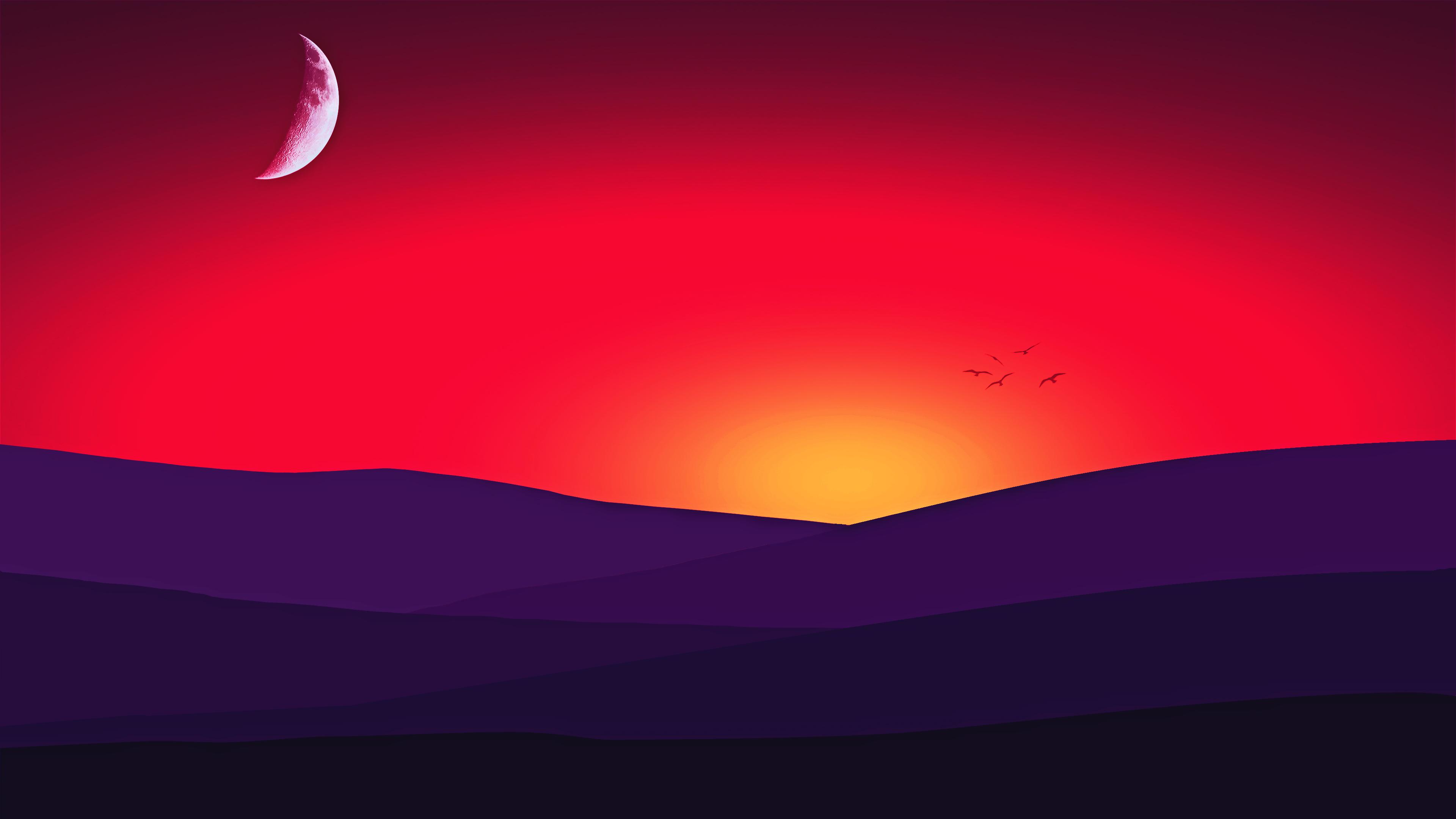 Закат Луны обои скачать