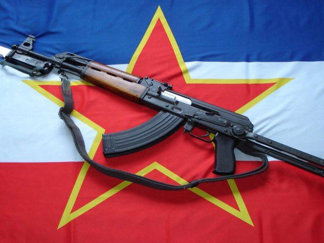 Флаг,  Югославия,  звезда,  оружие