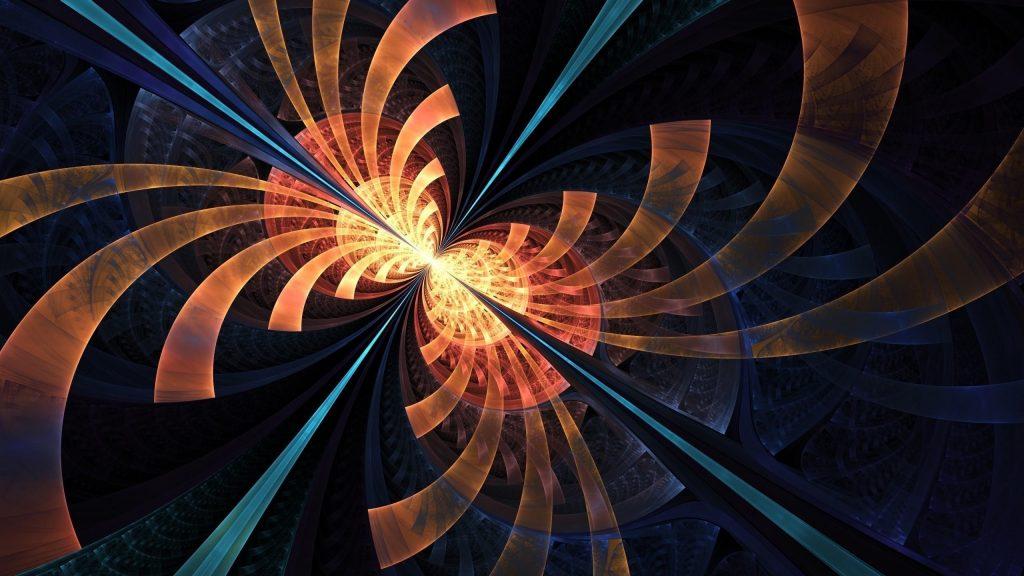 Синий оранжевый фрактальные формы круги блики абстрактные обои скачать