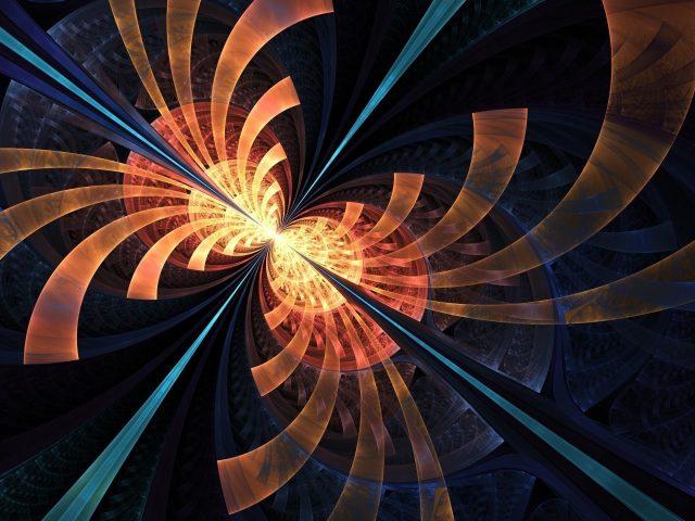 Синий оранжевый фрактальные формы круги блики абстрактные