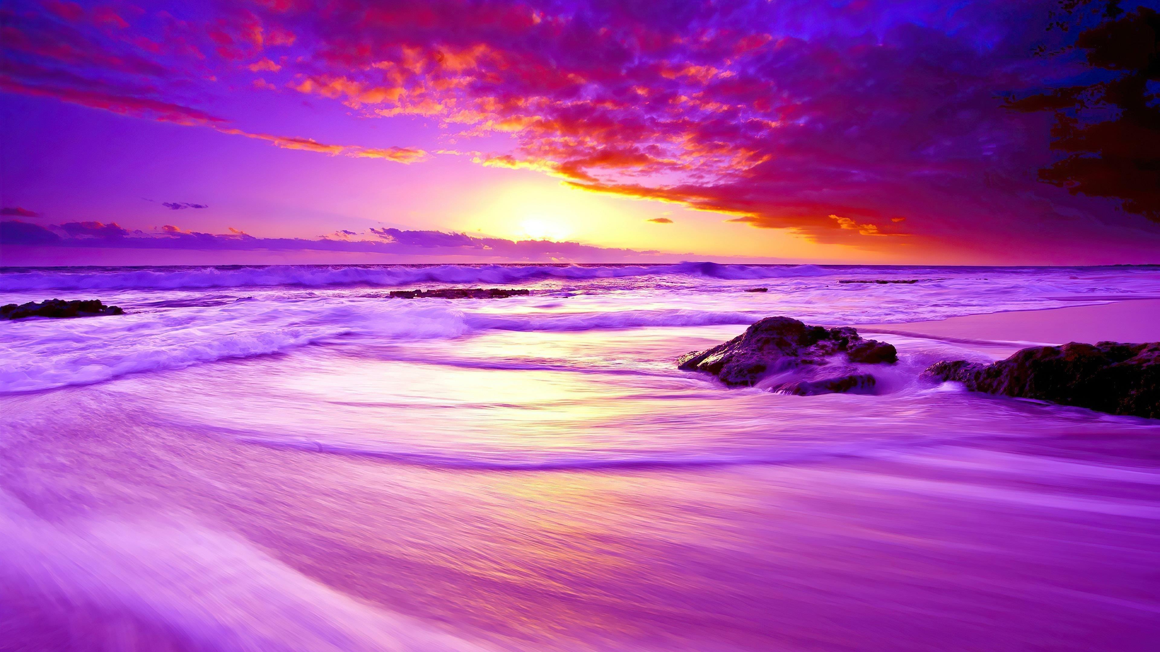 Фиолетовый пляжный закат обои скачать