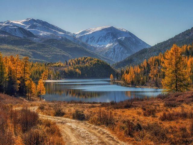 Пейзаж вид на белые покрытые горы с деревьями отражение на водоеме природа