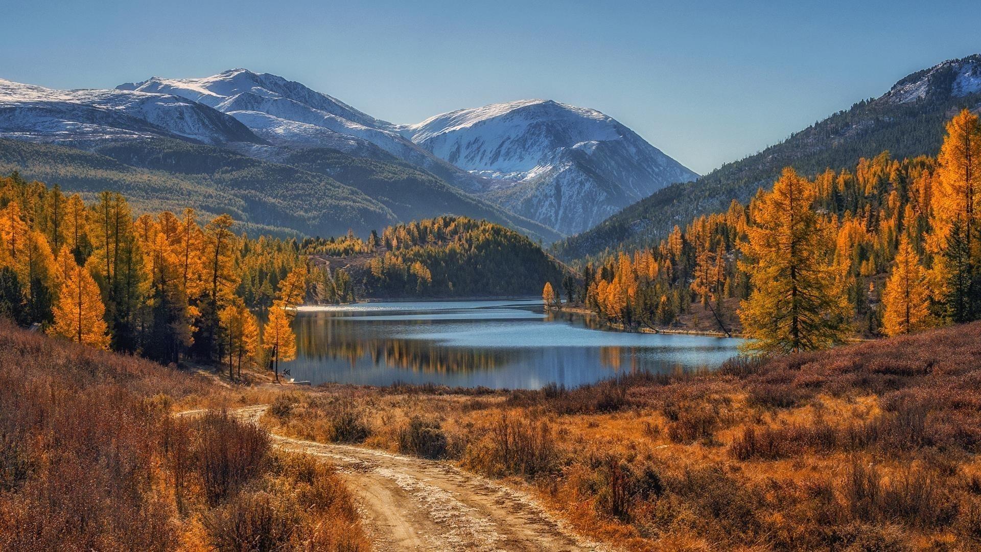 Пейзаж вид на белые покрытые горы с деревьями отражение на водоеме природа обои скачать