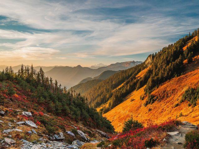 Горы пейзаж небо север каскады природа