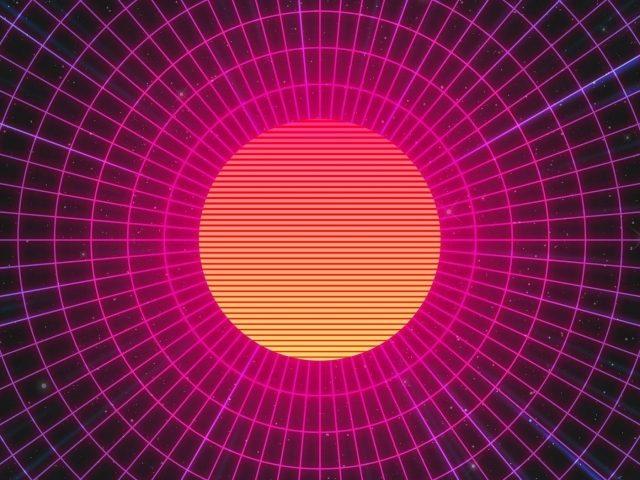 Абстрактные солнце неоновые произведения искусства