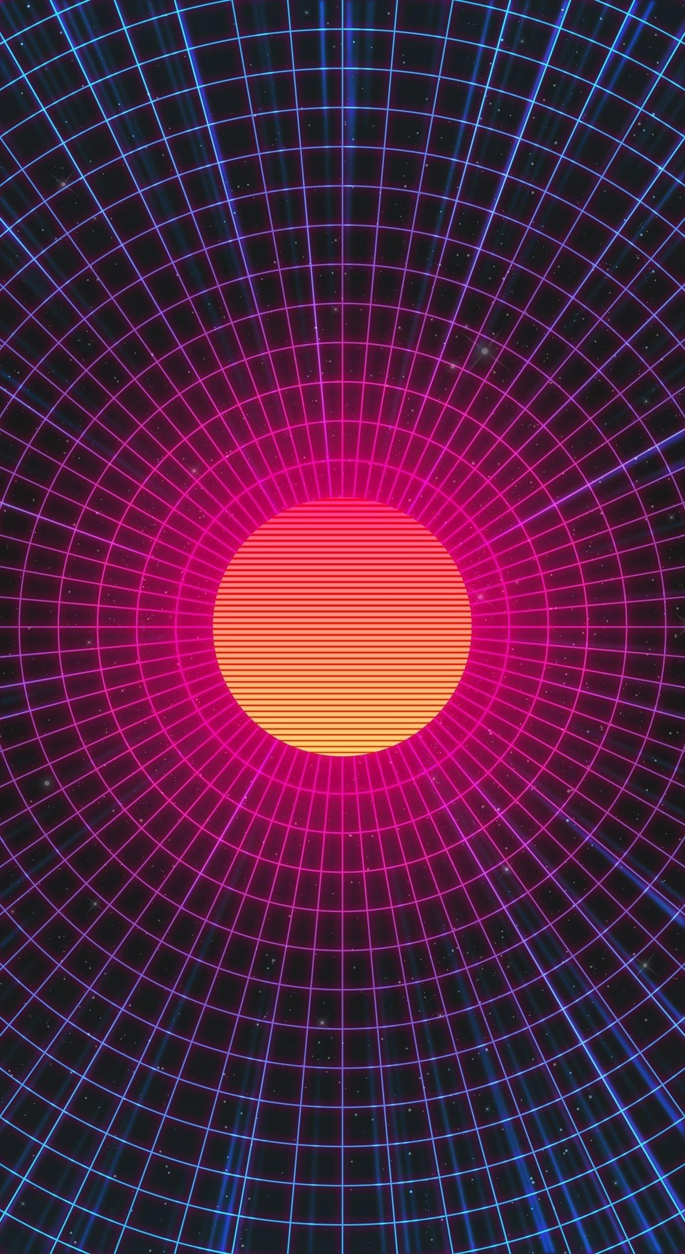 Абстрактные солнце неоновые произведения искусства обои скачать