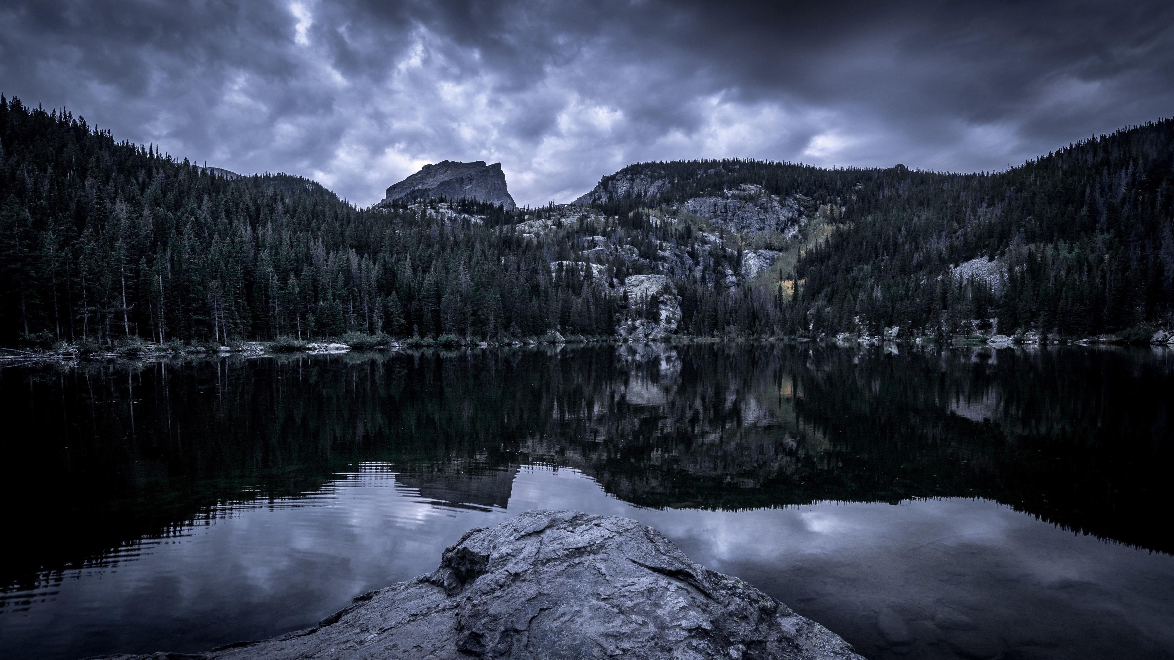 Земля озеро облака обои скачать