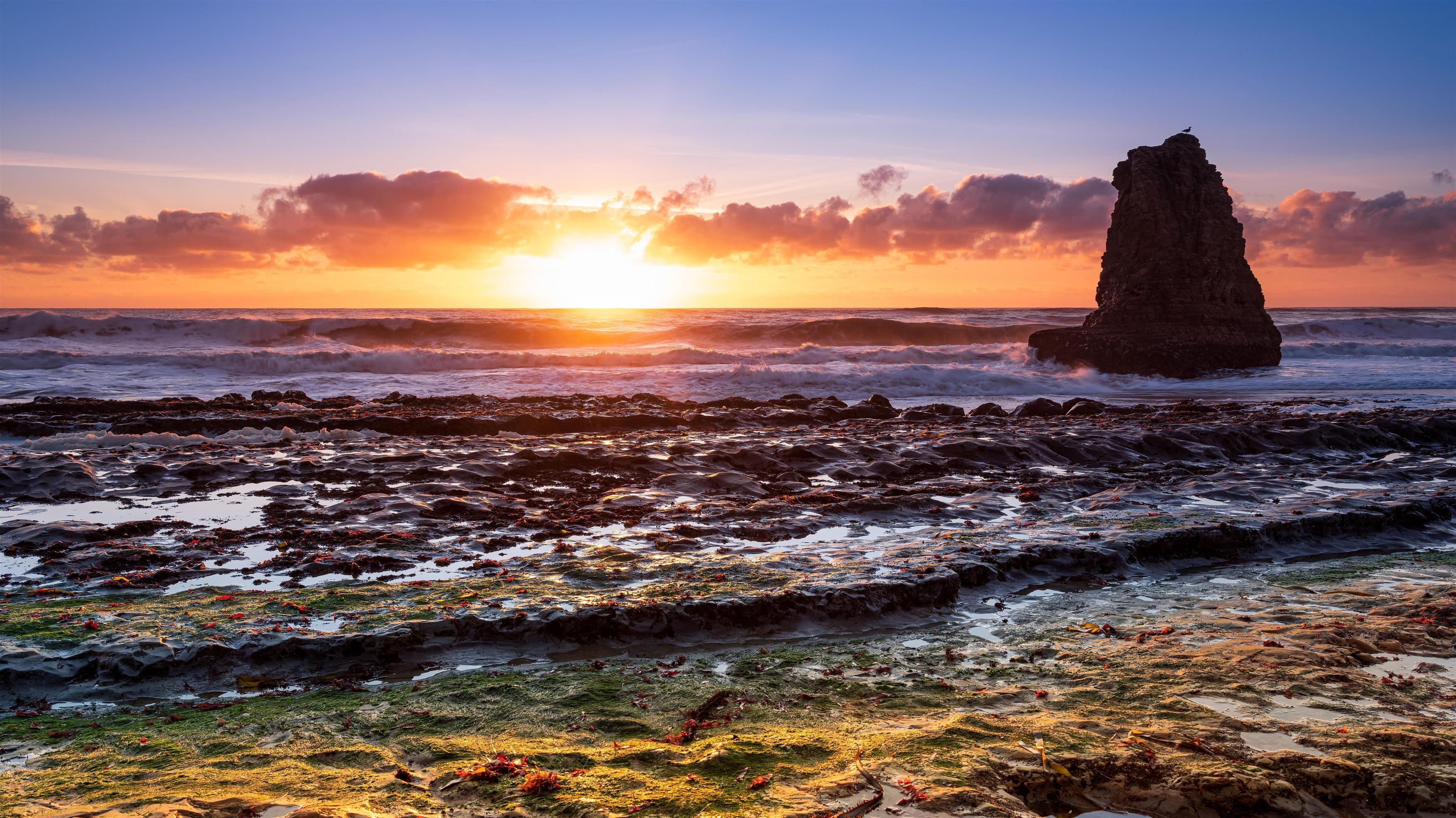 Восход солнца на пляже обои скачать