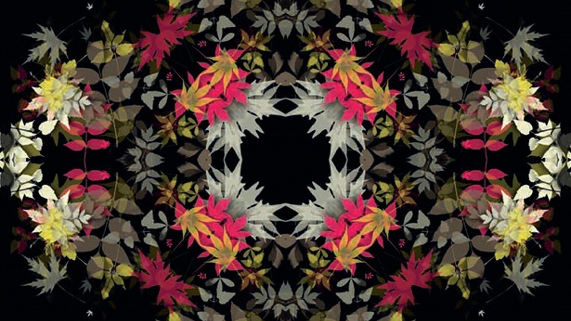 Розовый желтый белый листья черный фон абстракция абстракция обои скачать