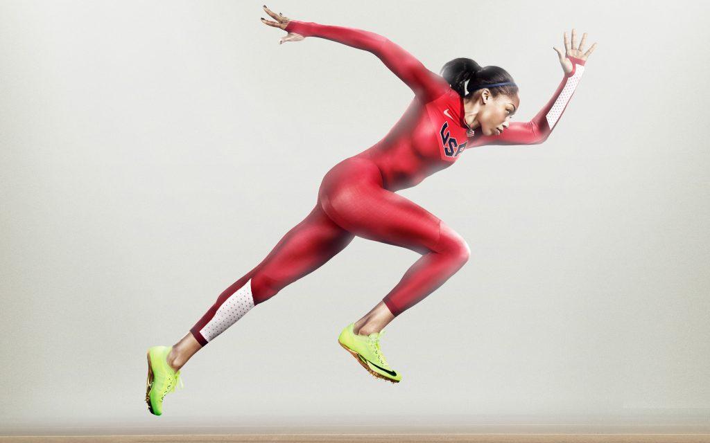 Найк бежит спортсмен женщин. обои скачать