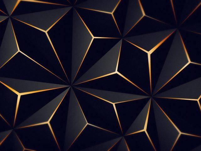 Треугольник сплошной черный золотой абстрактный