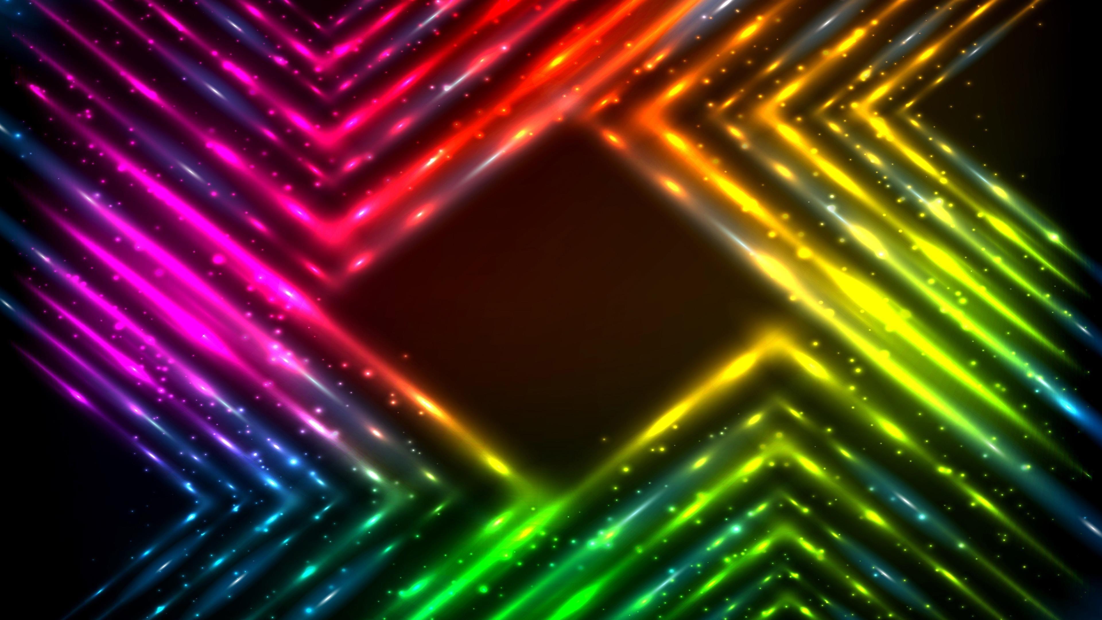 Красочные неоновые огни в рамке абстракция абстракция обои скачать