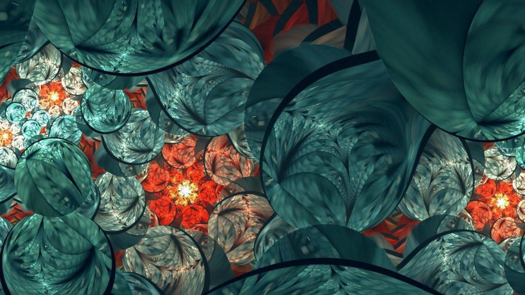 Зеленый красный фрактальный цветок текстура абстрактная абстрактная обои скачать