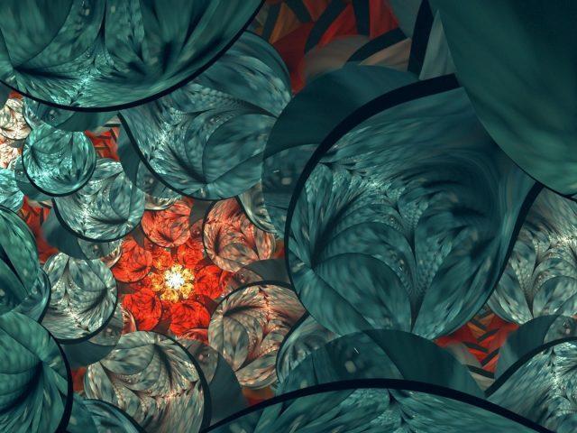 Зеленый красный фрактальный цветок текстура абстрактная абстрактная