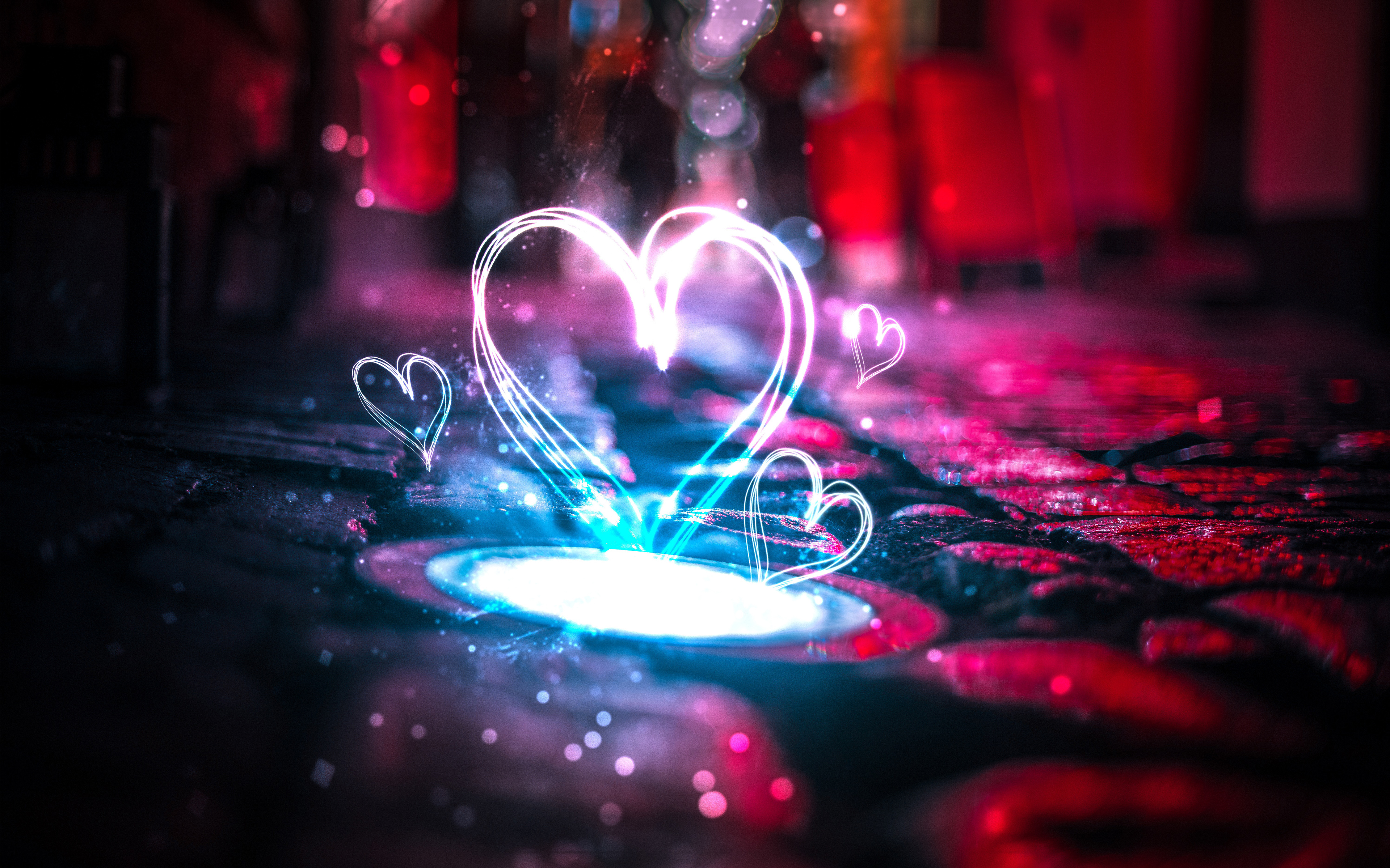 Неоновые сердца любви обои скачать