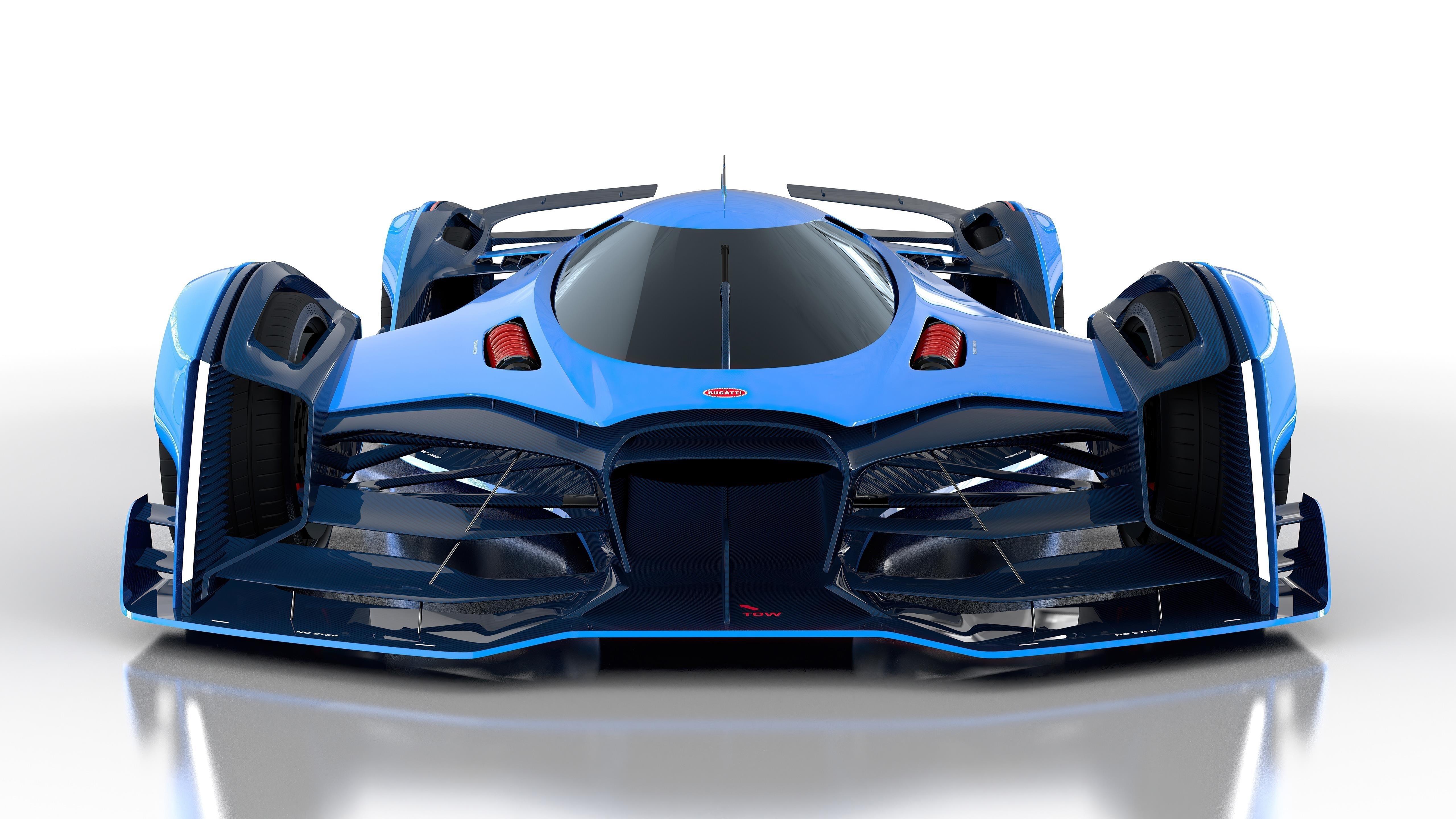 Синие автомобили bugatti vision le mans обои скачать