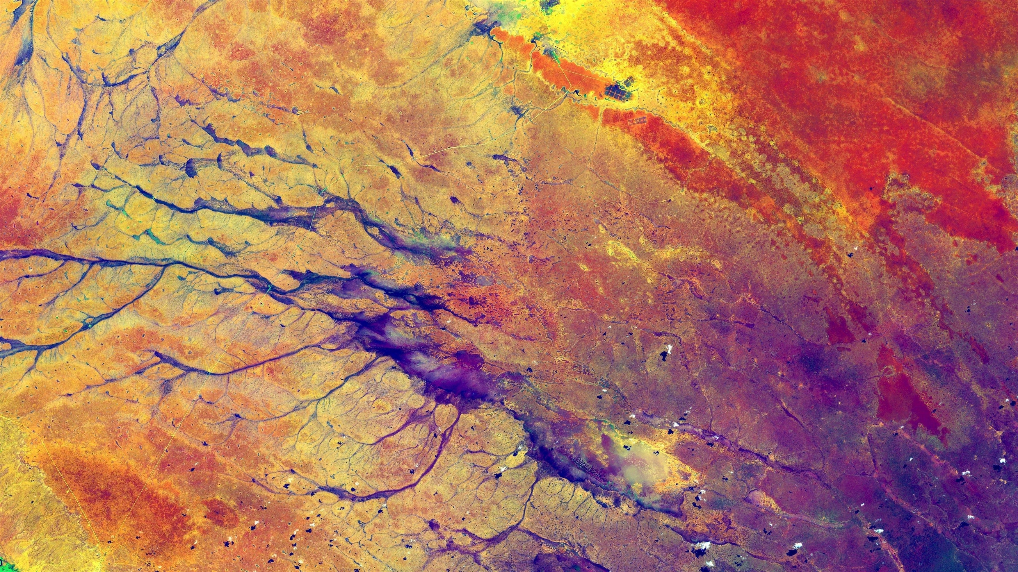 Красные желтые фиолетовые пятна краски абстрактные обои скачать