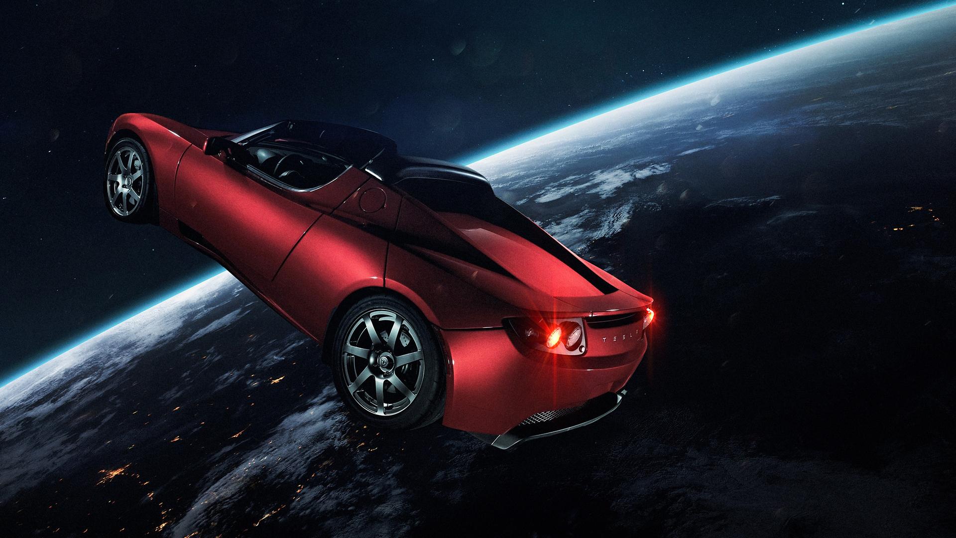 Илон Маск Тесла Родстер в космосе обои скачать