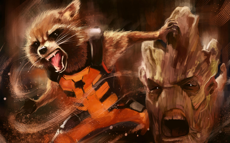 Groot rocket artwork. обои скачать