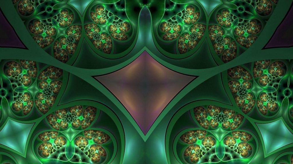 Зеленые фрактальные паттерны абстрактные обои скачать