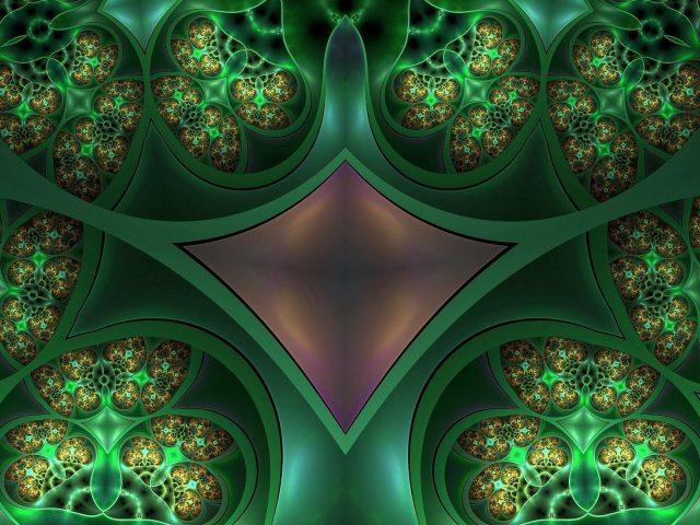 Зеленые фрактальные паттерны абстрактные