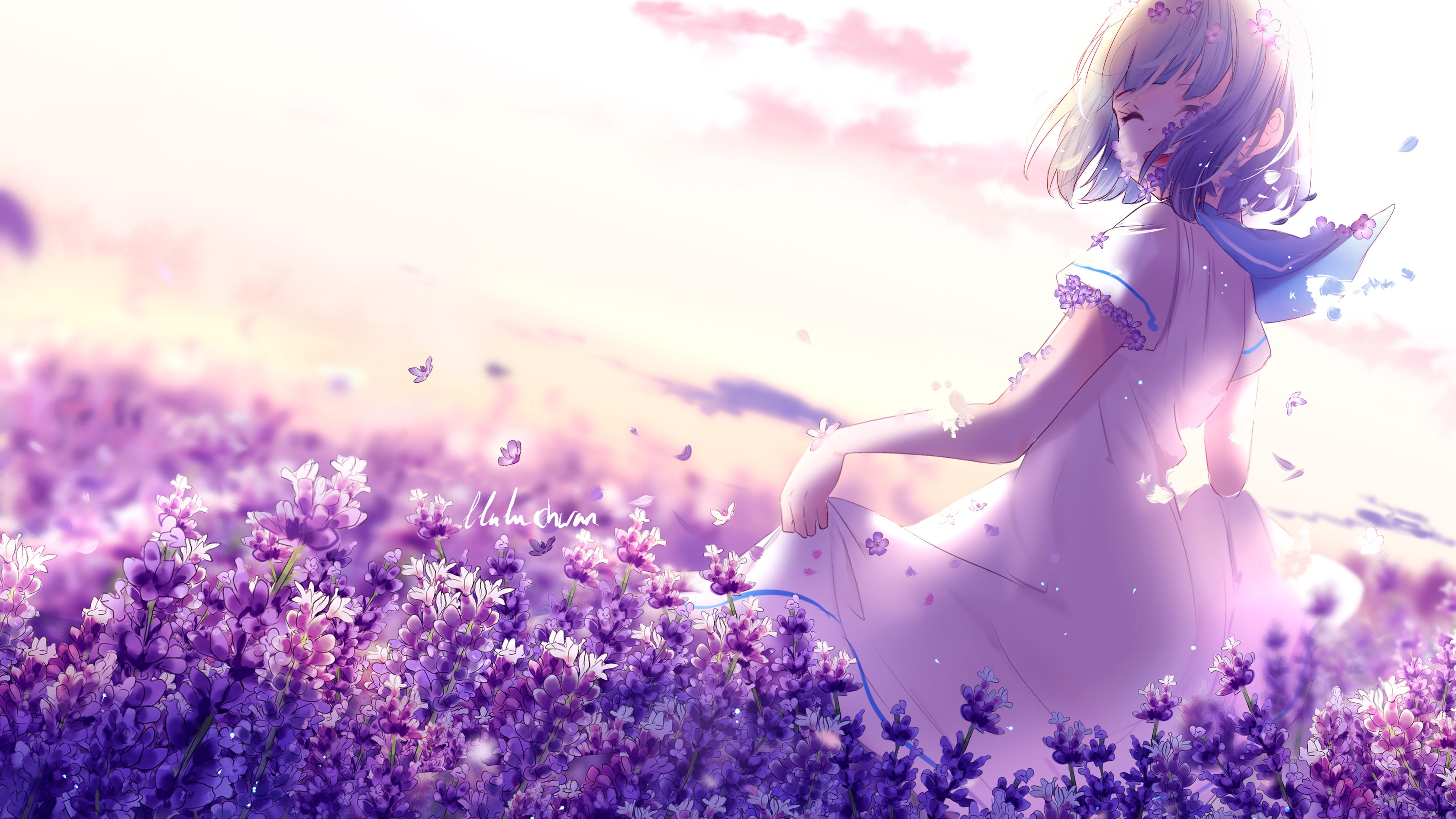 Аниме девушка лаванда фиолетовые цветы обои скачать