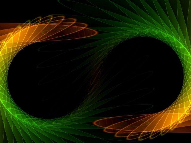 Зеленый оранжевый черный узоры абстрактные фрактальные абстрактные
