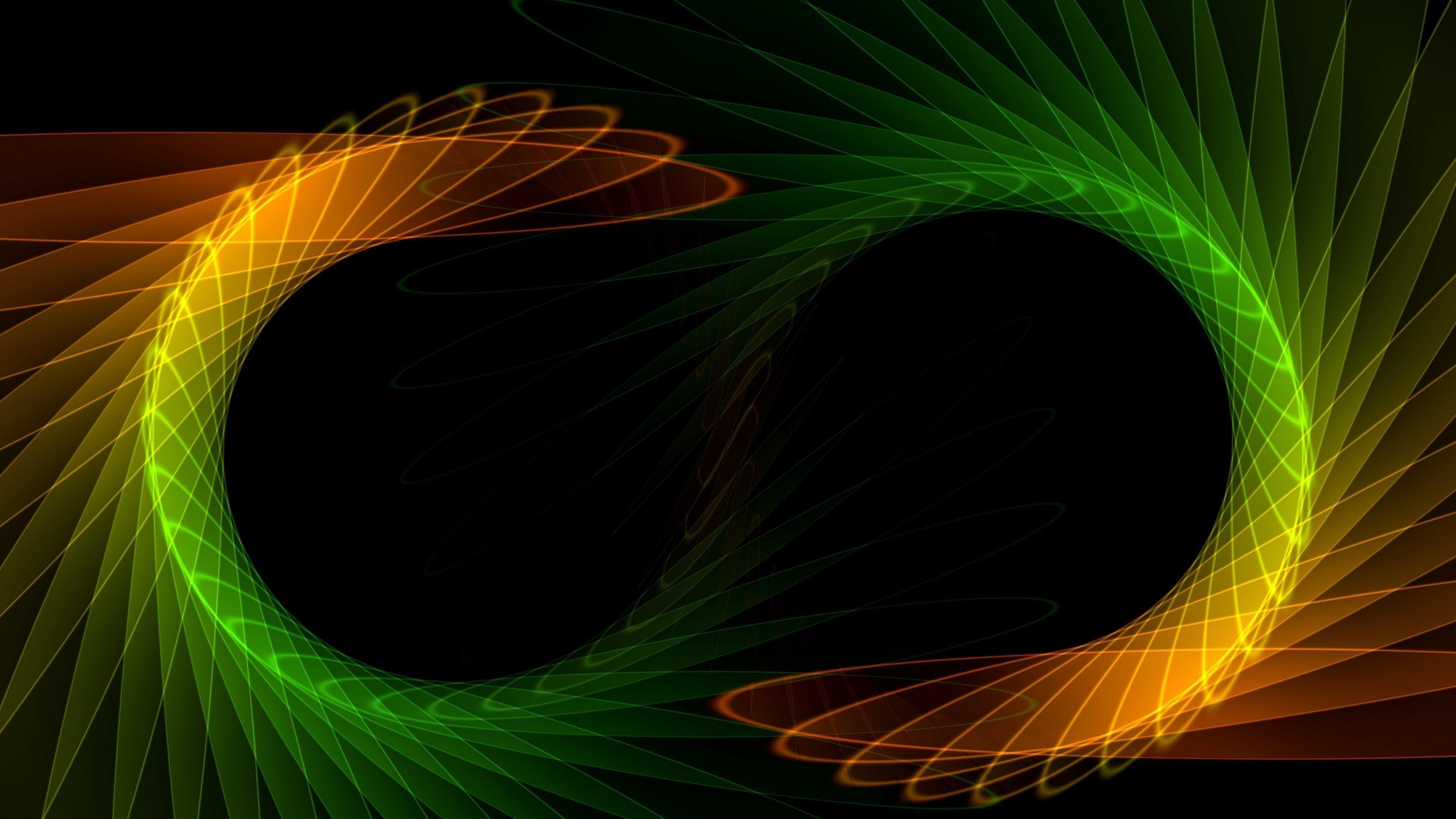 Зеленый оранжевый черный узоры абстрактные фрактальные абстрактные обои скачать