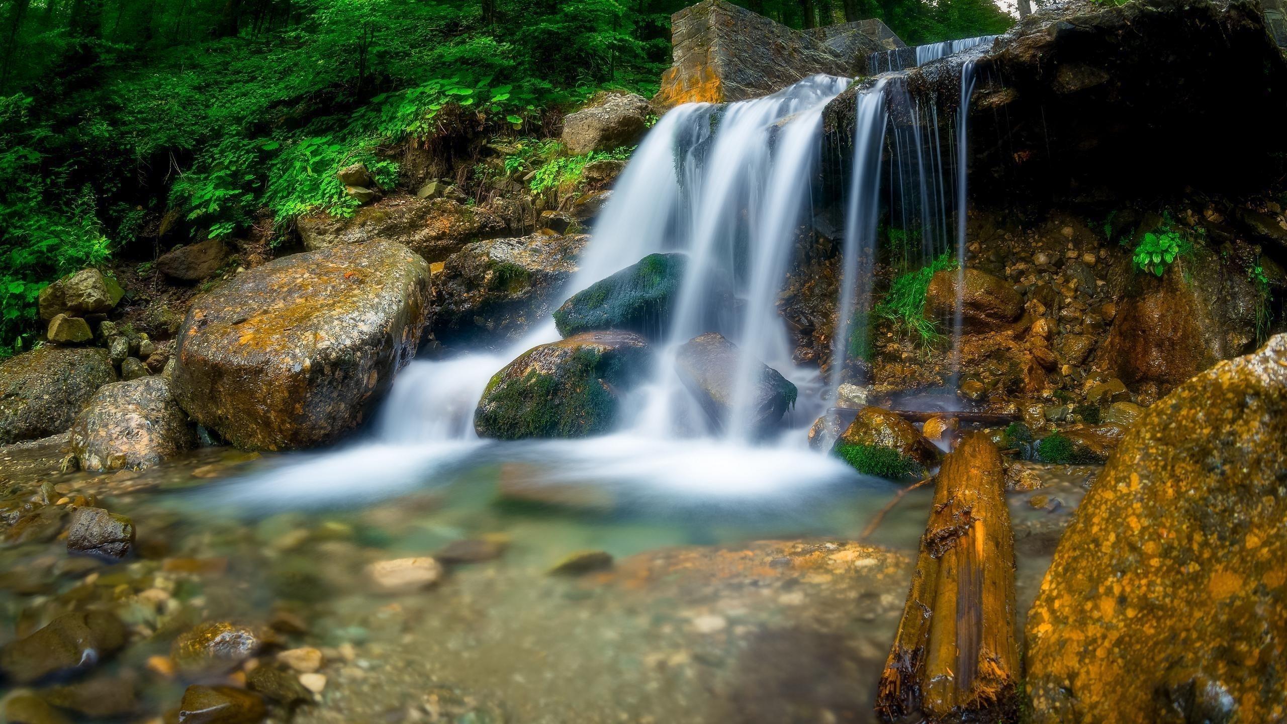 Водопад между деревьями, скалами в дневное время обои скачать