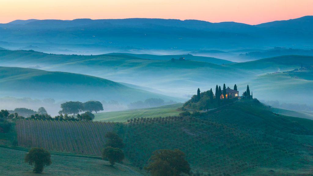 Италия утром Восход пейзаж. обои скачать