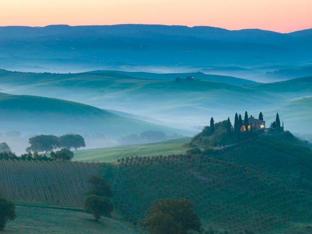 Италия утром Восход пейзаж.