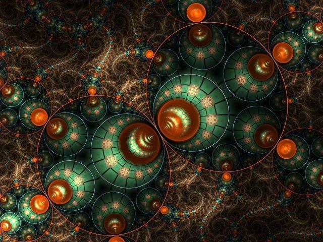 Зеленый оранжевый круглый фрактал абстрактный