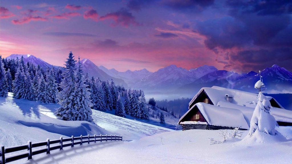 Заснеженные деревья в снежном поле и пейзажный вид гор под пасмурным небом зима обои скачать