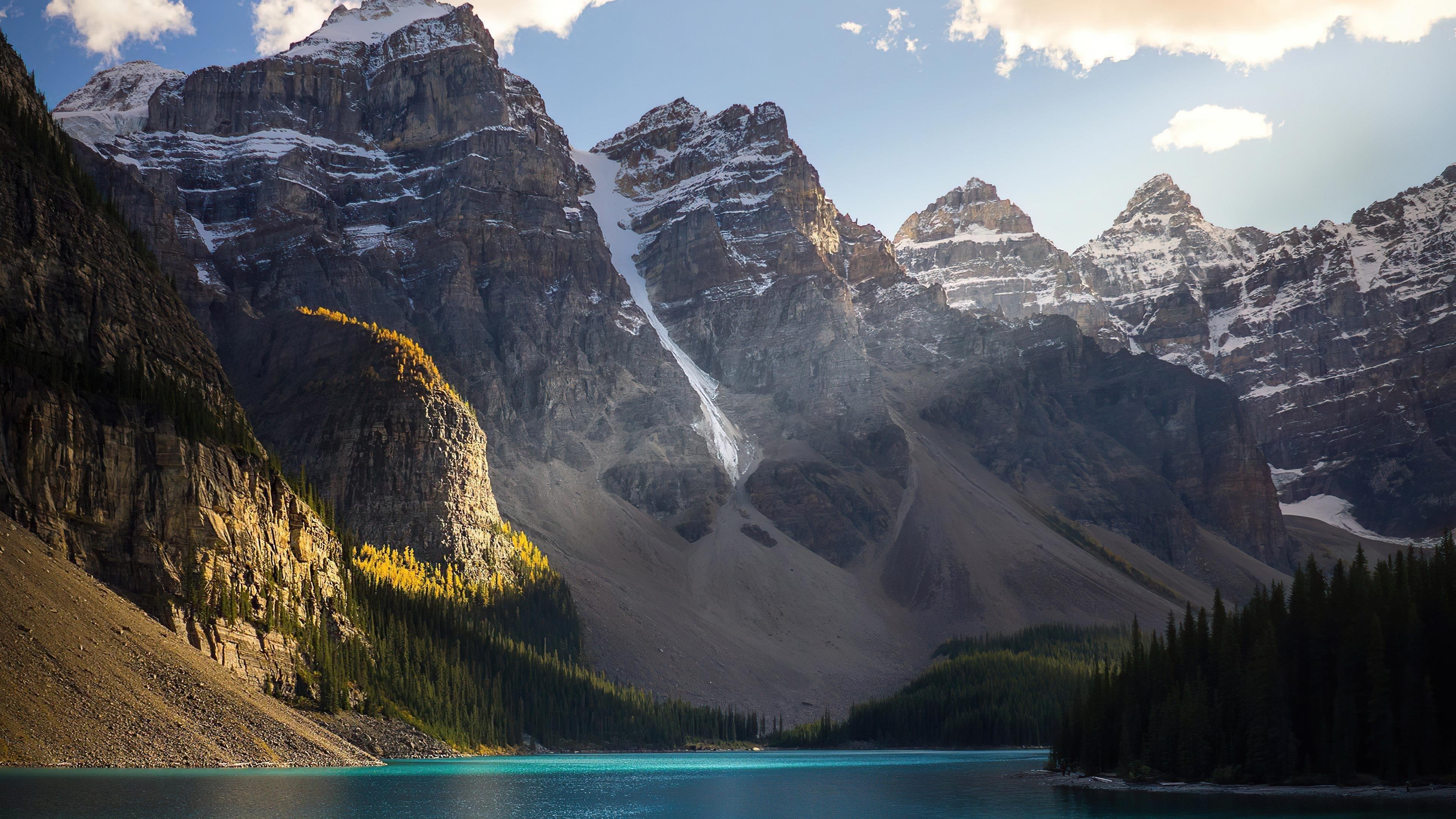 Красивые заснеженные горы озеро пейзажи природа обои скачать