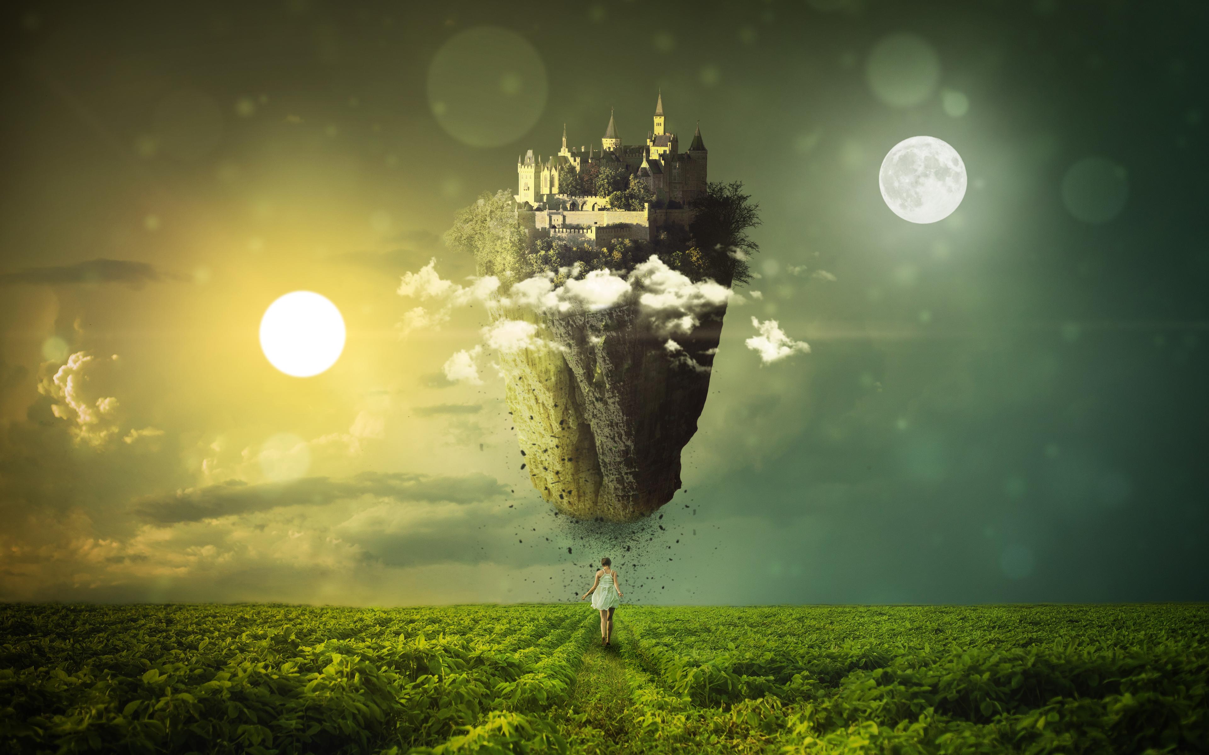 Равноденствие Солнце Луна мечта обои скачать