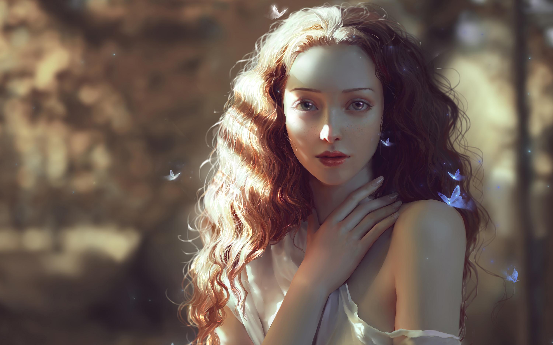 Красивая женщина, цифровое искусство обои скачать