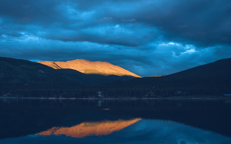 Sunset mountain lake. обои скачать