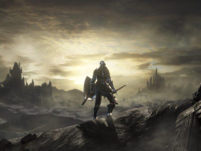 Dark souls warrior стоит с мечом и щитом вид сзади на фоне восходящих игр