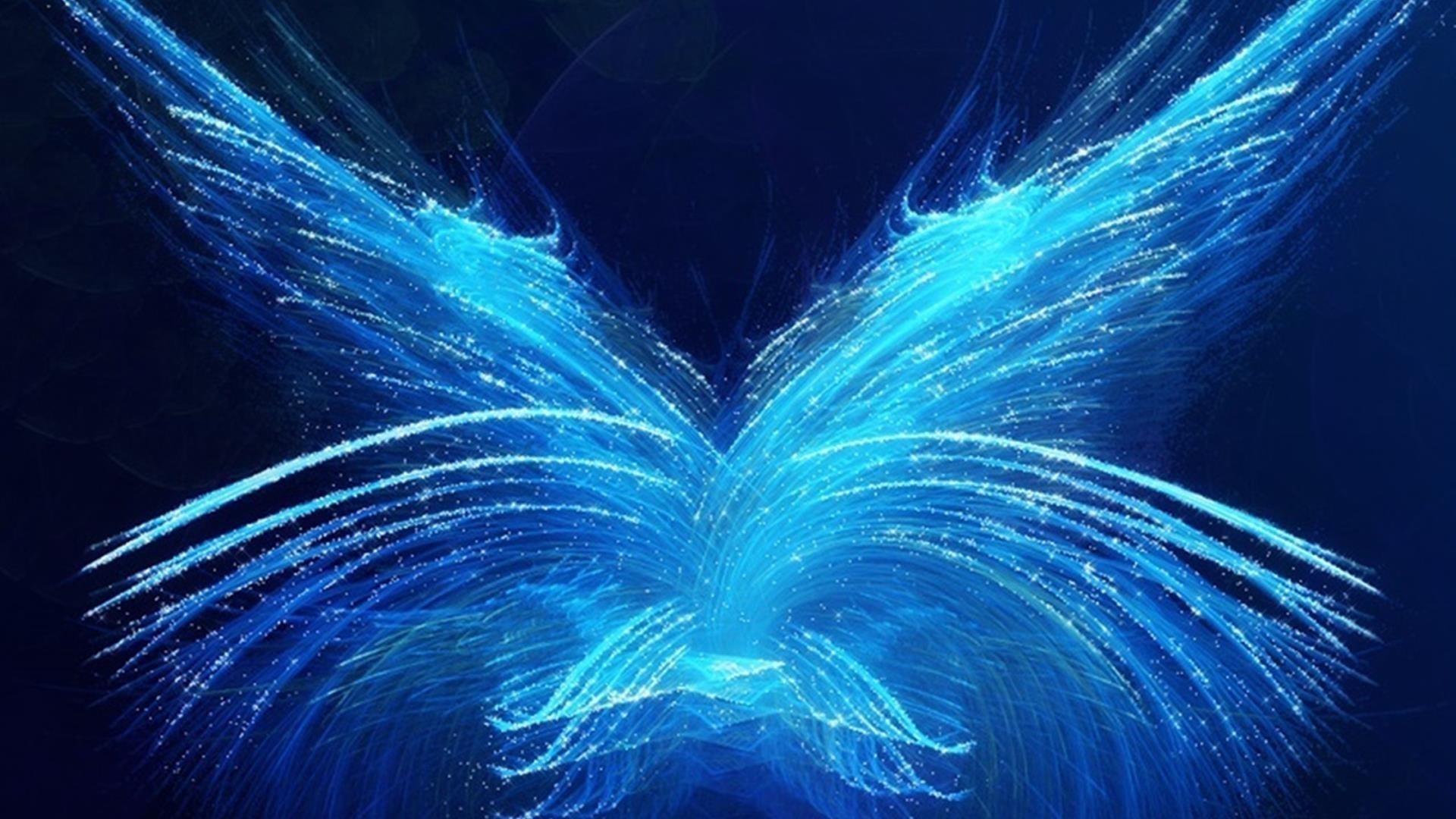 Фрактал синий бабочки аннотация обои скачать