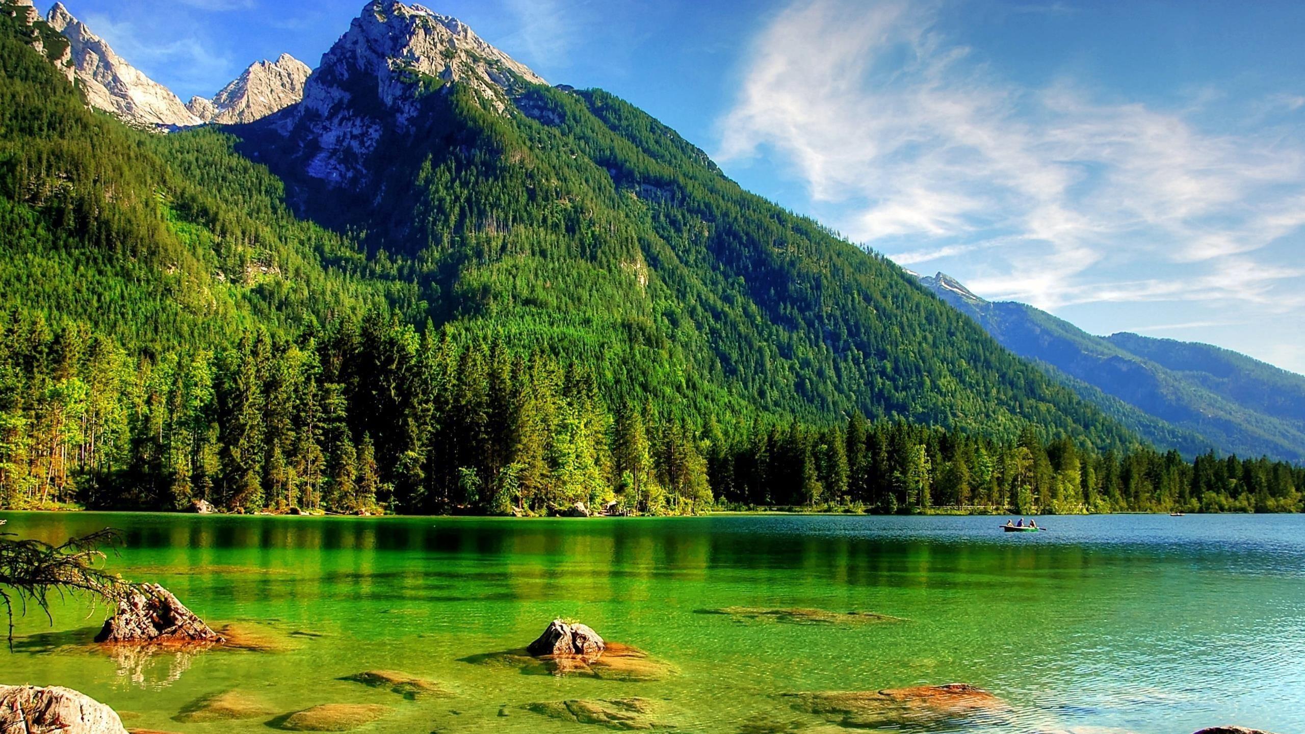 Прекрасный пейзаж с видом на зеленые деревья, покрытые горами под бело-голубыми облаками, камни на океанской природе обои скачать