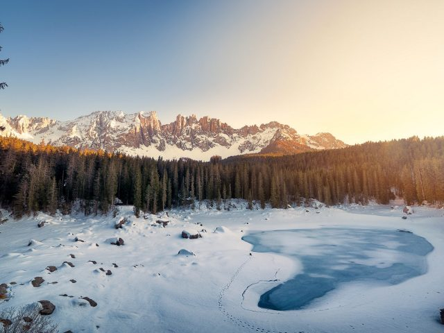 Karersee lake winter italy.