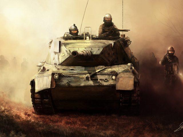 Арт,  военные,  танк,  солдаты