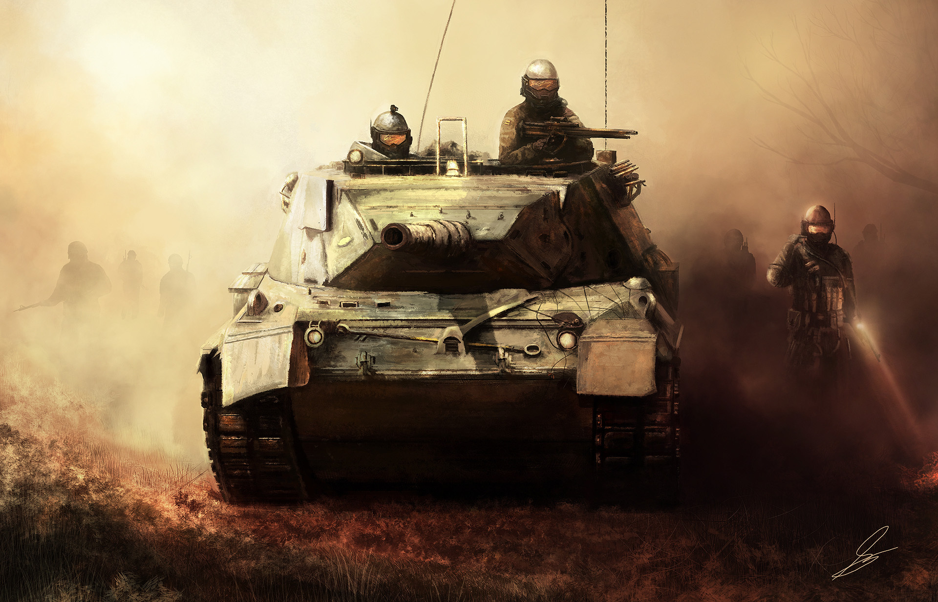 Арт, военные, танк, солдаты обои скачать
