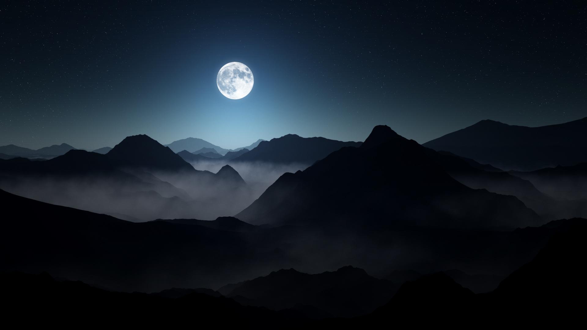 Полная луна темной горы. обои скачать