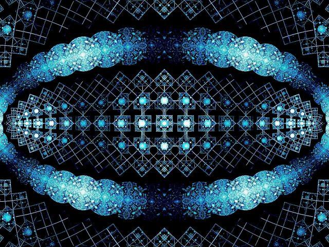 Синий блеск блики фрактальные формы абстрактные