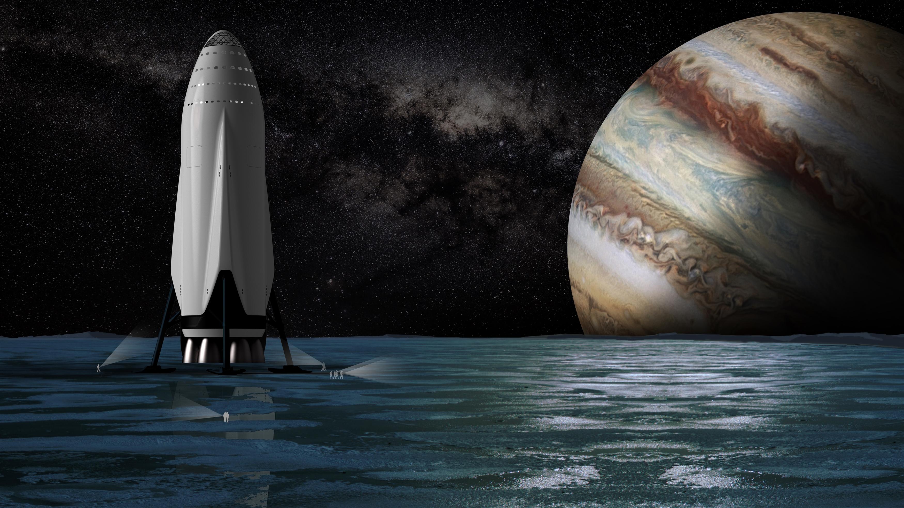Межпланетная транспортная система spacex обои скачать